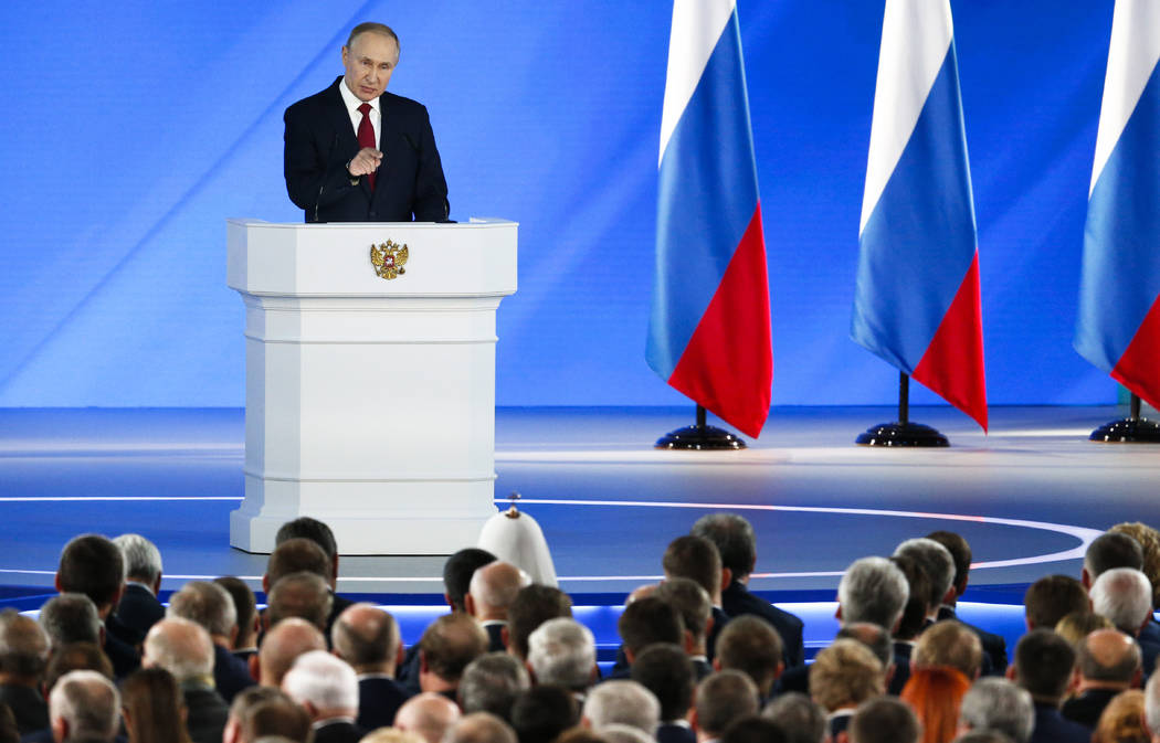 Russian President Vladimir Putin addresses the State Council in Moscow, Russia, Wednesday, Jan. ...