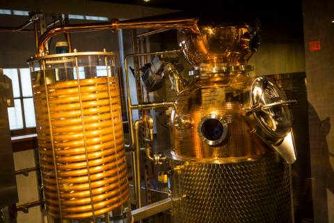 A working 60-gallon copper-pot still on display in the distillery area of The Underground at Th ...