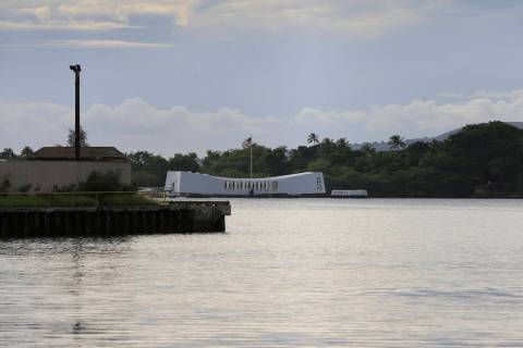 The USS Arizona Memorial can be seen from the Pearl Harbor National Memorial Wednesday, Dec. 4, ...