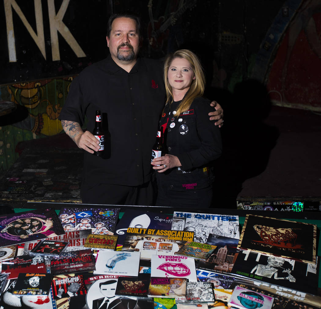Allan Carter and his wife, Ally Carter, at Double Down Saloon in Las Vegas, Thursday, Jan. 16, ...