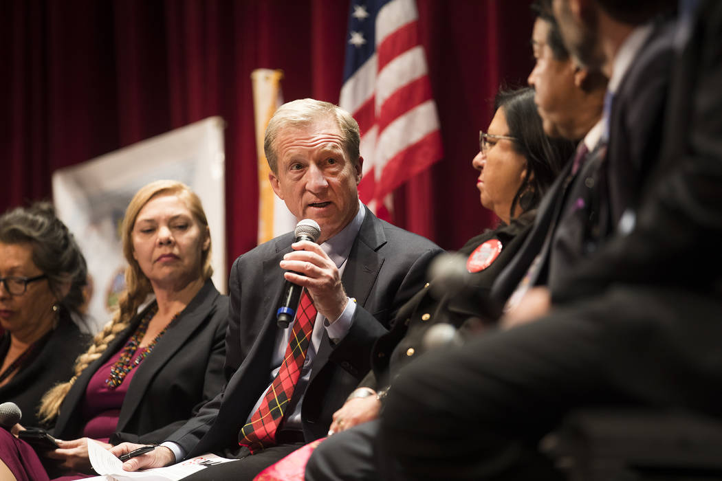 Democratic presidential candidate Tom Steyer answers a question at a Native American Presidenti ...