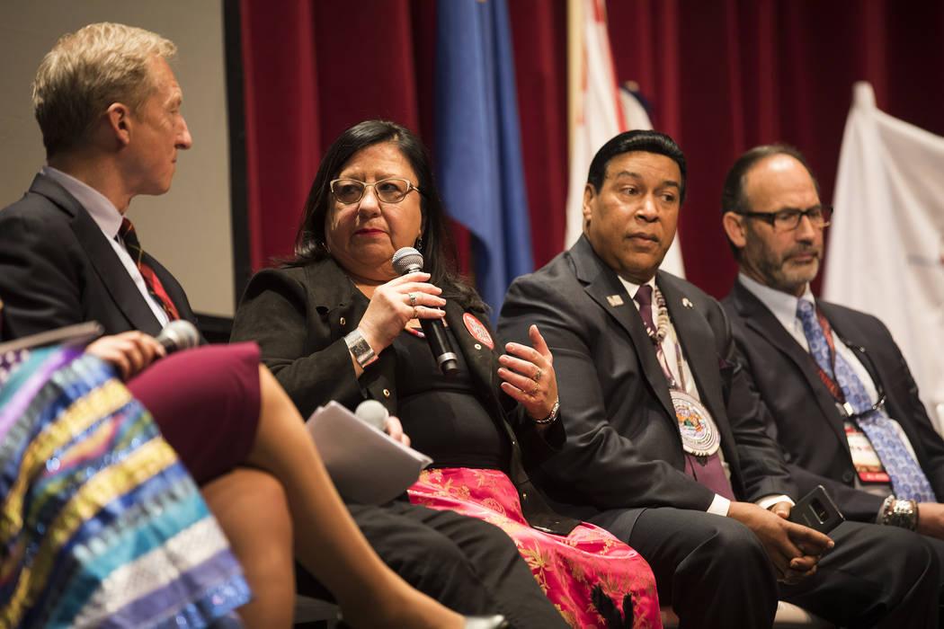Melanie Benjamin, chief executive of Millie Lacs Band of Ojibwe, asks Democratic presidential c ...