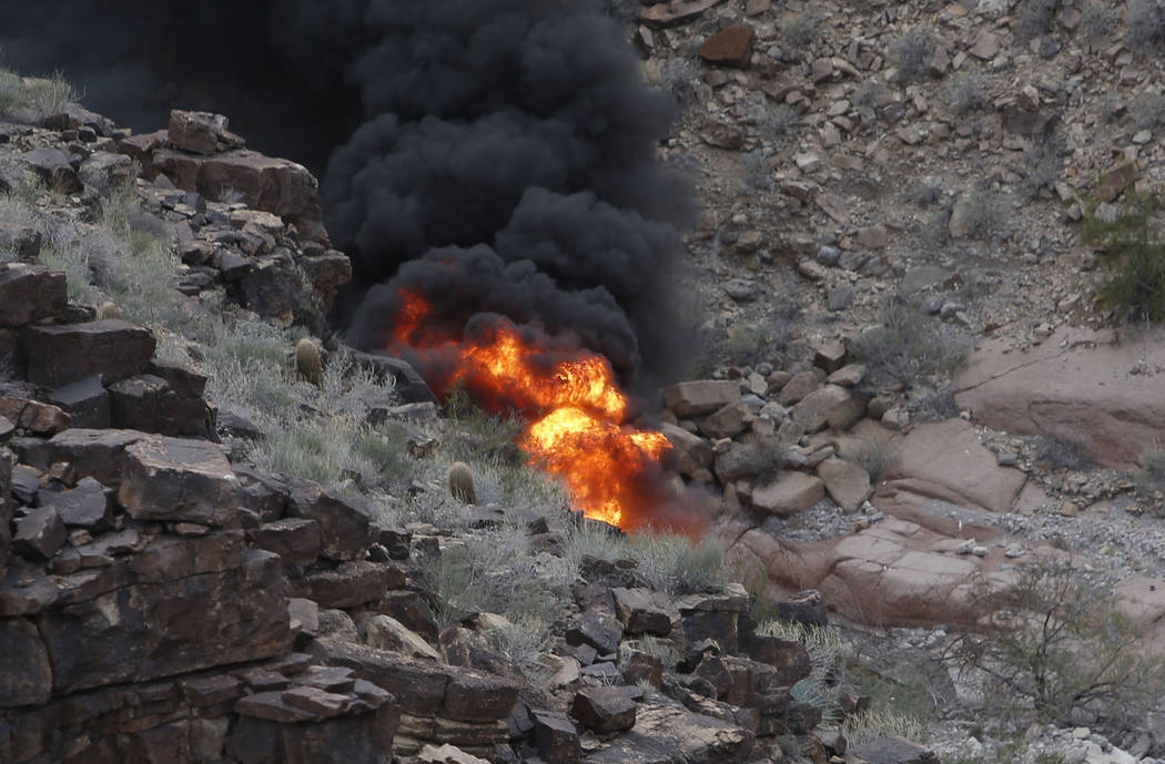 The scene of a deadly Papillon Group helicopter crash in the Grand Canyon, Ariz., on Feb. 10, 2 ...