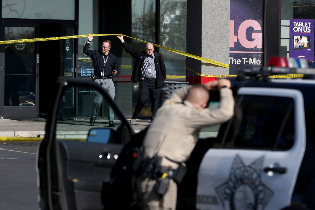 Las Vegas police investigate an officer-involved shooting that occurred in the 6900 block of Sp ...