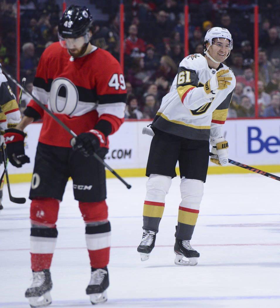 Vegas Golden Knights right wing Mark Stone (61) celebrates a goal against the Ottawa Senators d ...