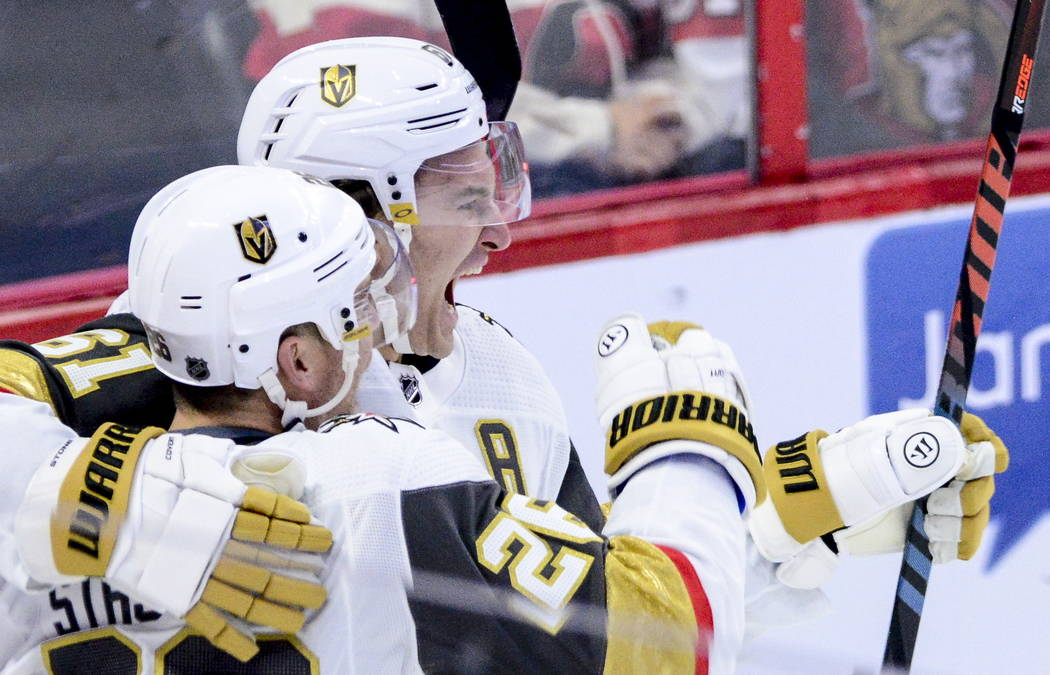 Vegas Golden Knights centre Paul Stastny (26) celebrates a goal with Vegas Golden Knights right ...
