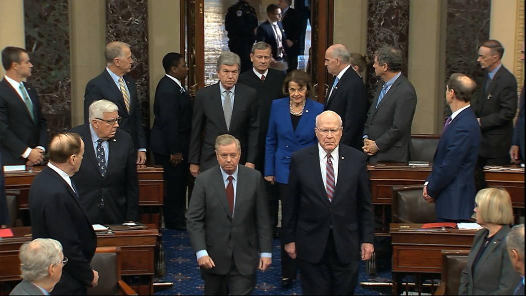 In this image from video, Sen. Lindsey Graham, R-S.C., left, Sen. Patrick Leahy, D-Vt., Sen. Di ...