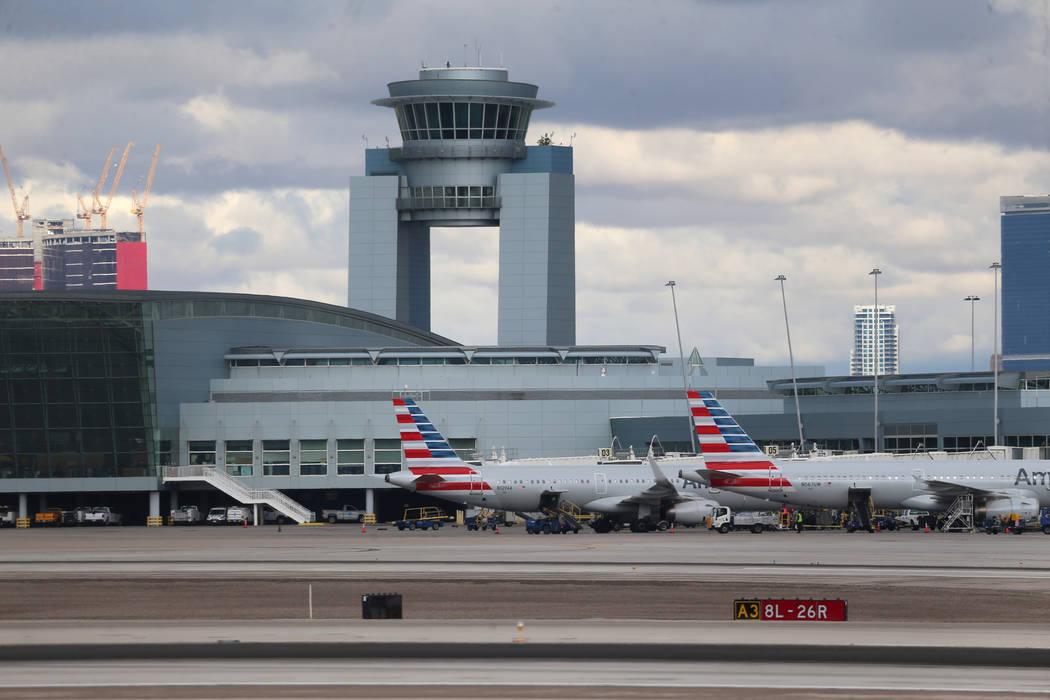 McCarran International Airport in Las Vegas, on Thursday, Nov. 21, 2019. A record 24 extra flig ...