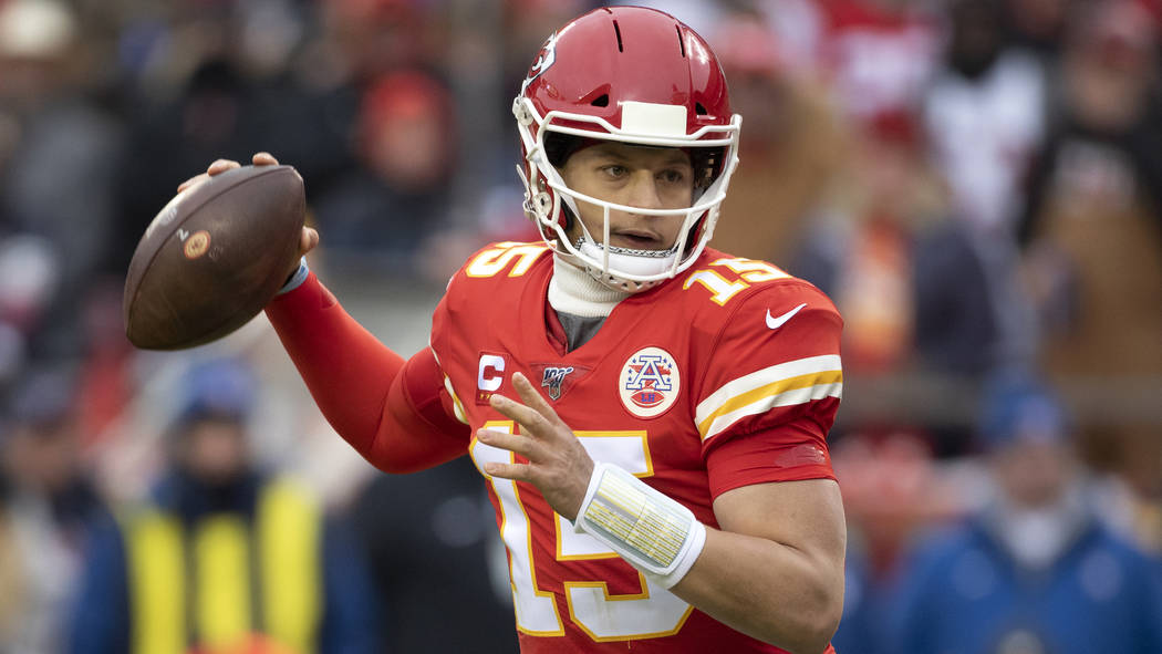 Kansas City Chiefs quarterback Patrick Mahomes during an NFL divisional playoff football game a ...