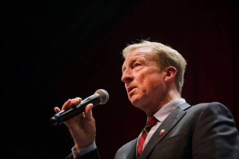 Democratic presidential candidate Tom Steyer addresses the audience at a Native American Presid ...