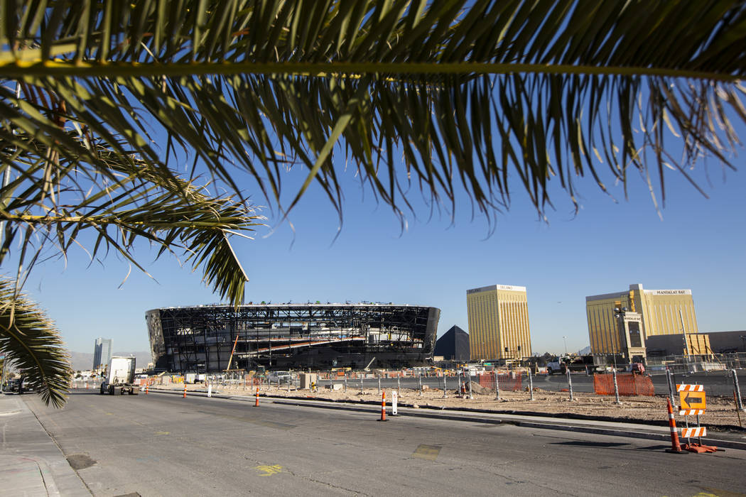 A view of Allegiant Stadium as construction progresses in Las Vegas on Monday, Jan. 13, 2020. ( ...