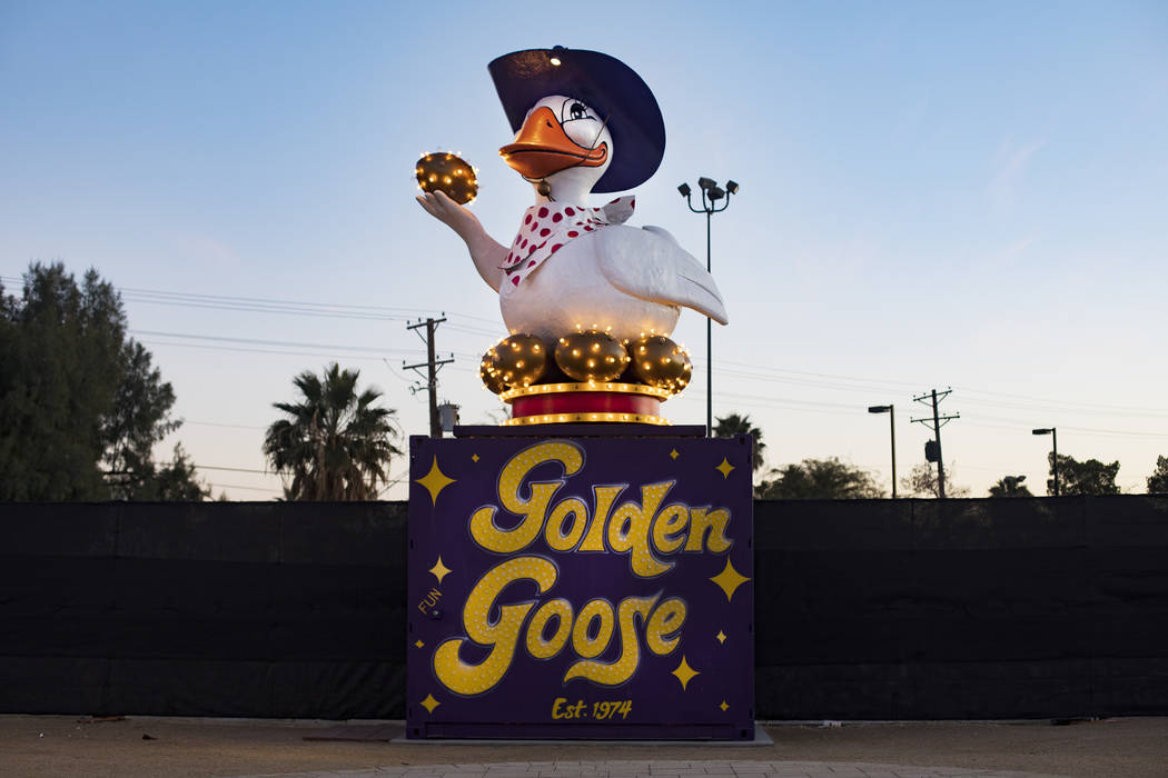 The Golden Goose, a restored YESCO marquee on Fremont and 10th Street in Downtown Las Vegas in ...