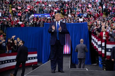 President Donald Trump arrives at UW-Milwaukee Panther Arena to speak at a campaign rally, Tues ...