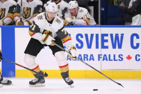 Vegas Golden Knights forward William Karlsson (71) controls the Puck during the third period of ...