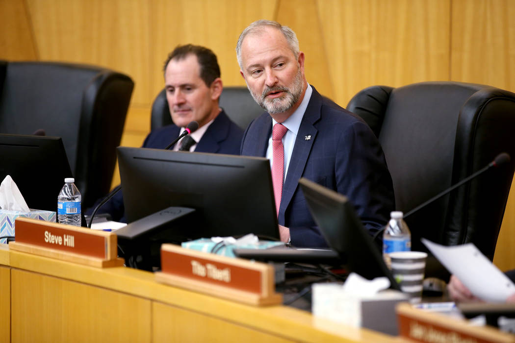 Vice Chairman Ike Lawrence Epstein, left, and Chairman Steve Hill during a Stadium Authority bo ...
