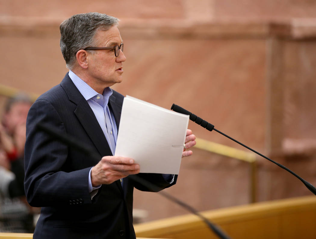 Las Vegas Stadium Co. Chief Operating Officer Don Webb during a Stadium Authority board meeting ...