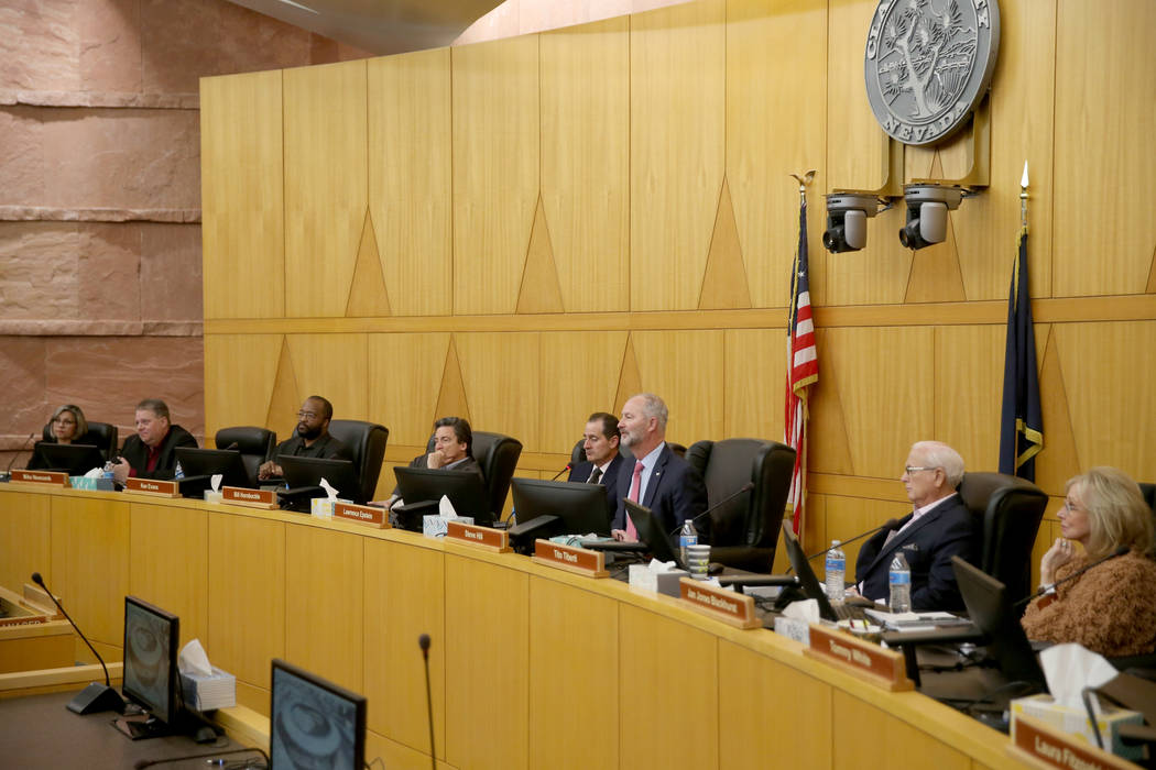 Las Vegas Stadium Authority board members, from left, Geoconda Argello-Kline, Mike Newcomb, Ken ...