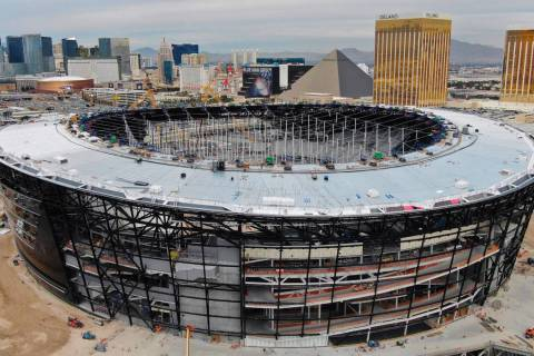 An aerial view of Allegiant Stadium pictured on Wednesday, Dec. 18, 2019, in Las Vegas. (Michae ...