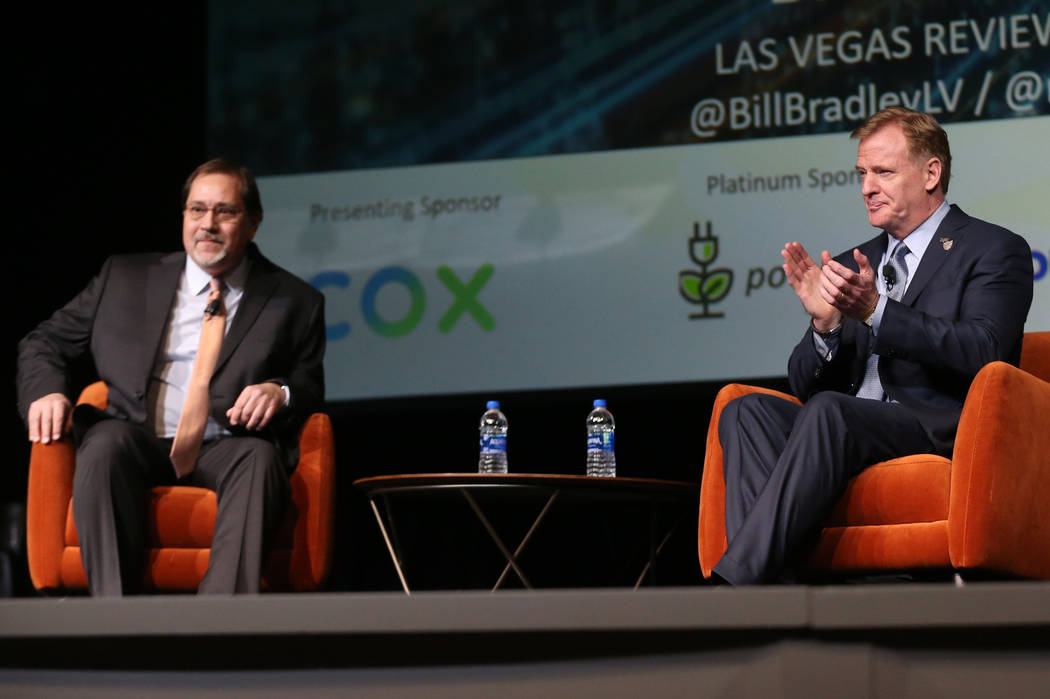 NFL Commissioner Roger Goodell, right, with Las Vegas Review-Journal sports editor Bill Bradley ...