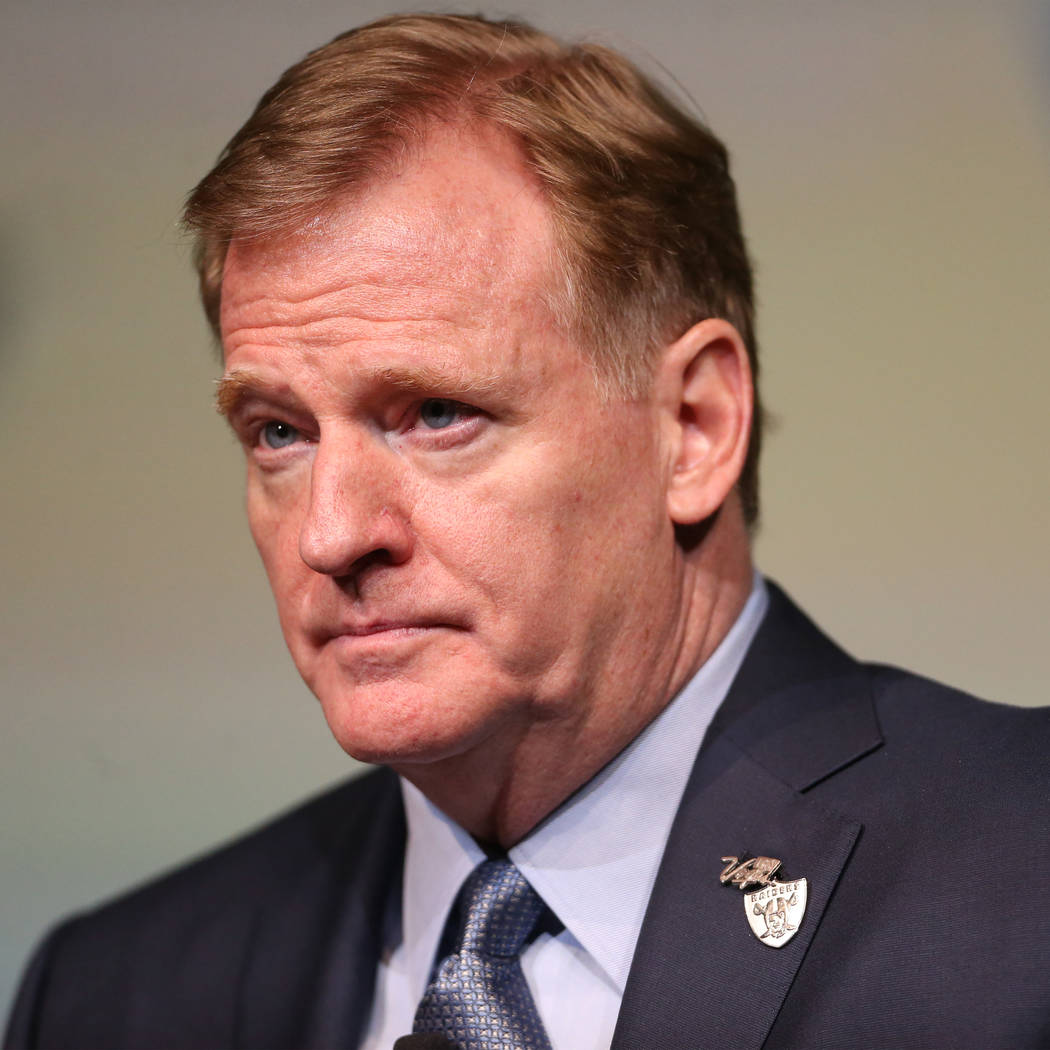 NFL Commissioner Roger Goodell participates during the Las Vegas Metro Chamber of Commerce's Pr ...