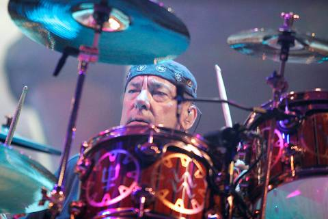 Rush drummer Neil Peart plays during the band's performance at the MGM Grand Garden in Las Vega ...