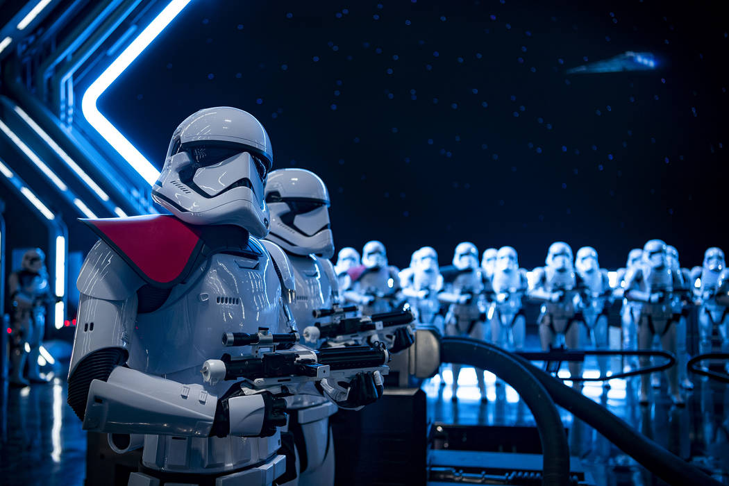 "Stormtroopers await guests as they arrive in the hangar bay of a Star Destroyer as part of ""Sta ..."