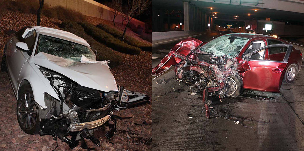 A white Audi and a Chevy Cruz are seen after a crash on the Airport Connector near McCarran Int ...