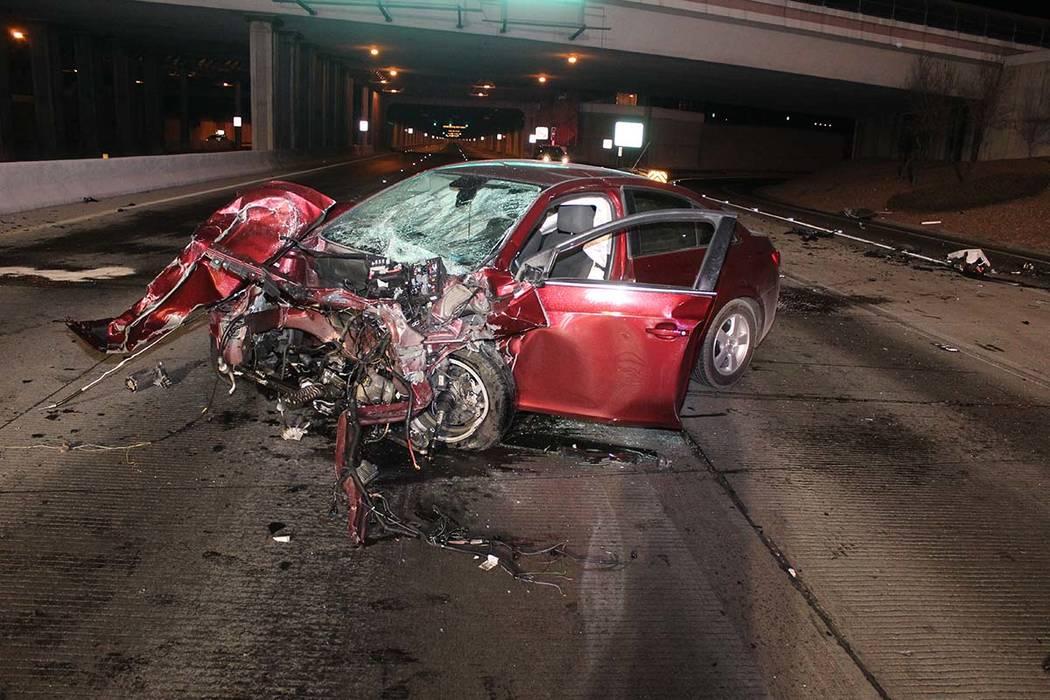A Chevy Cruz was involved in a fatal, wrong-way crash on Paradise Road near McCarran Internatio ...