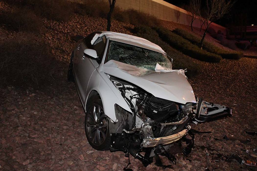 A man driving a white Audi was killed a crash on the Airport Connector near McCarran Internatio ...