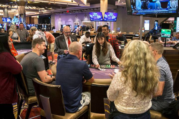 Gambers play blackjack on Thursday, May, 30, 2019, in Las Vegas at what was then SLS Las Vegas, ...