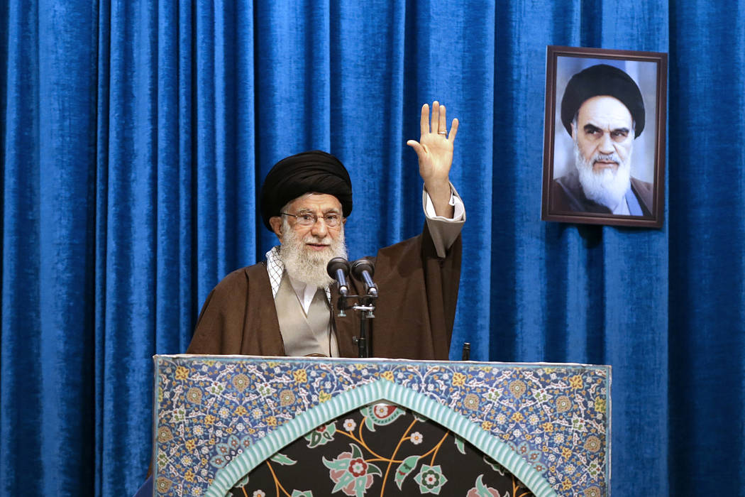 In this photo released by the official website of the office of the Iranian supreme leader, Sup ...