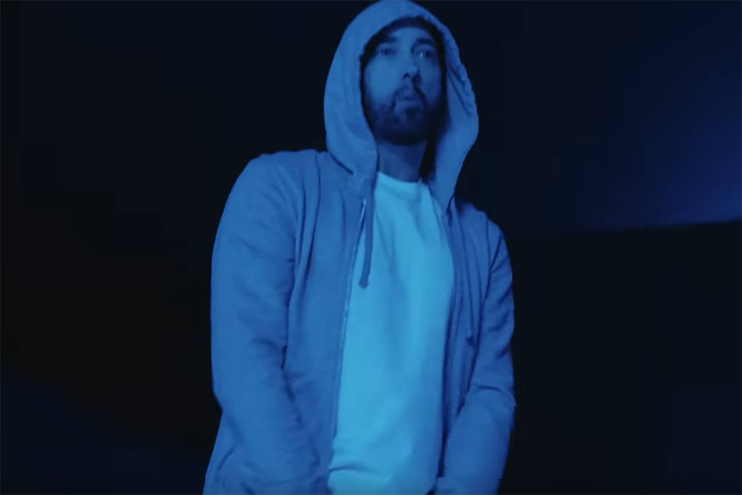 """Eminem is seen in a screenshot from his new """"Darkness"""" music video. (Eminem/YouTube)"""