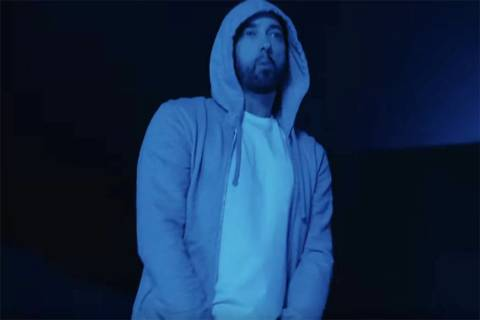 "Eminem is seen in a screenshot from his new ""Darkness"" music video. (Eminem/YouTube)"