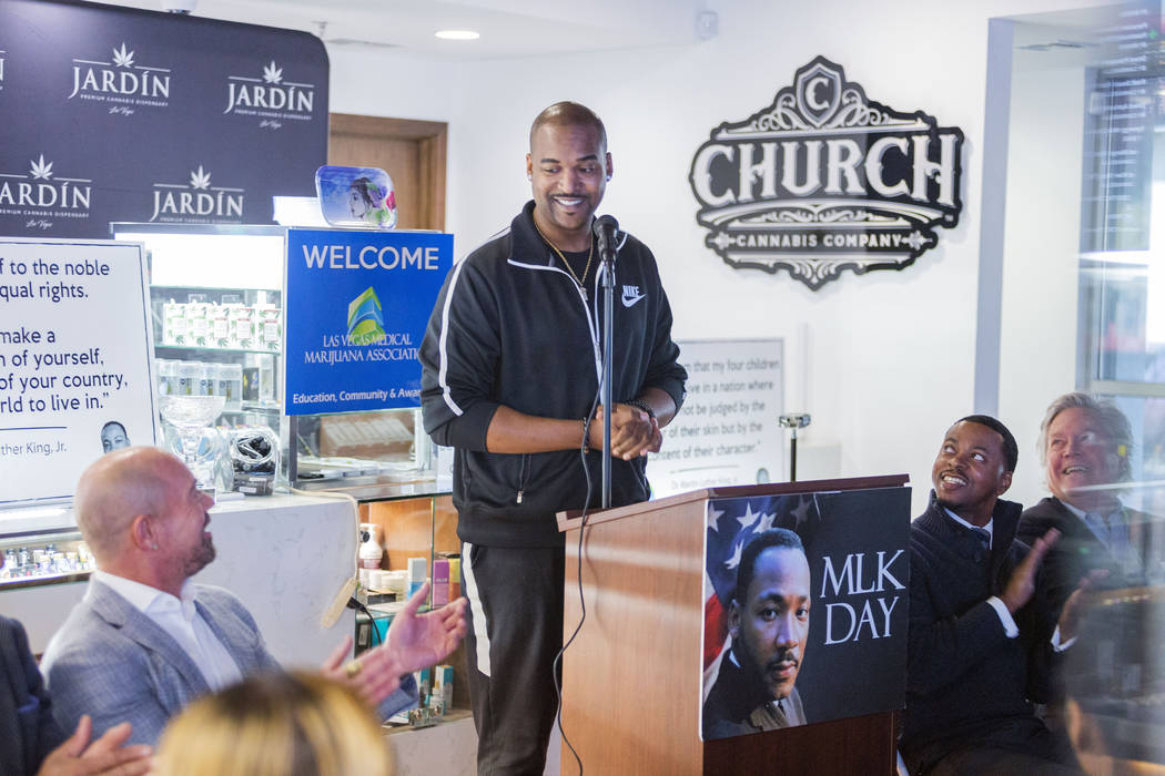 DJ Infamous gives a speech during Jardin Cannabis Dispensary's third annual commemoration for M ...