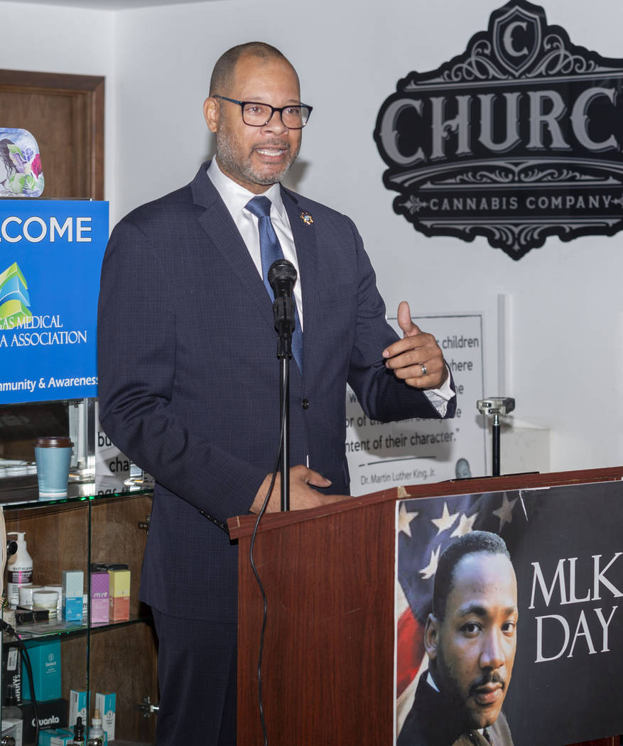 Nevada Attorney General Aaron Ford gives a speech during Jardin Cannabis Dispensary's third ann ...