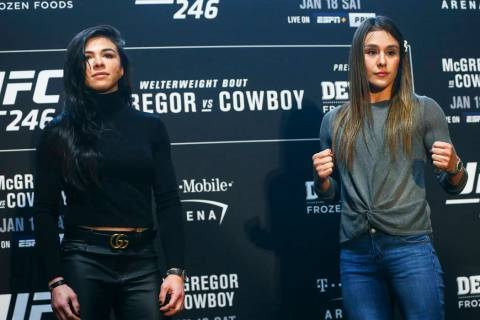 Claudia Gadelha, left, poses with Alexa Grasso during media day ahead of UFC 246, slated for Ja ...