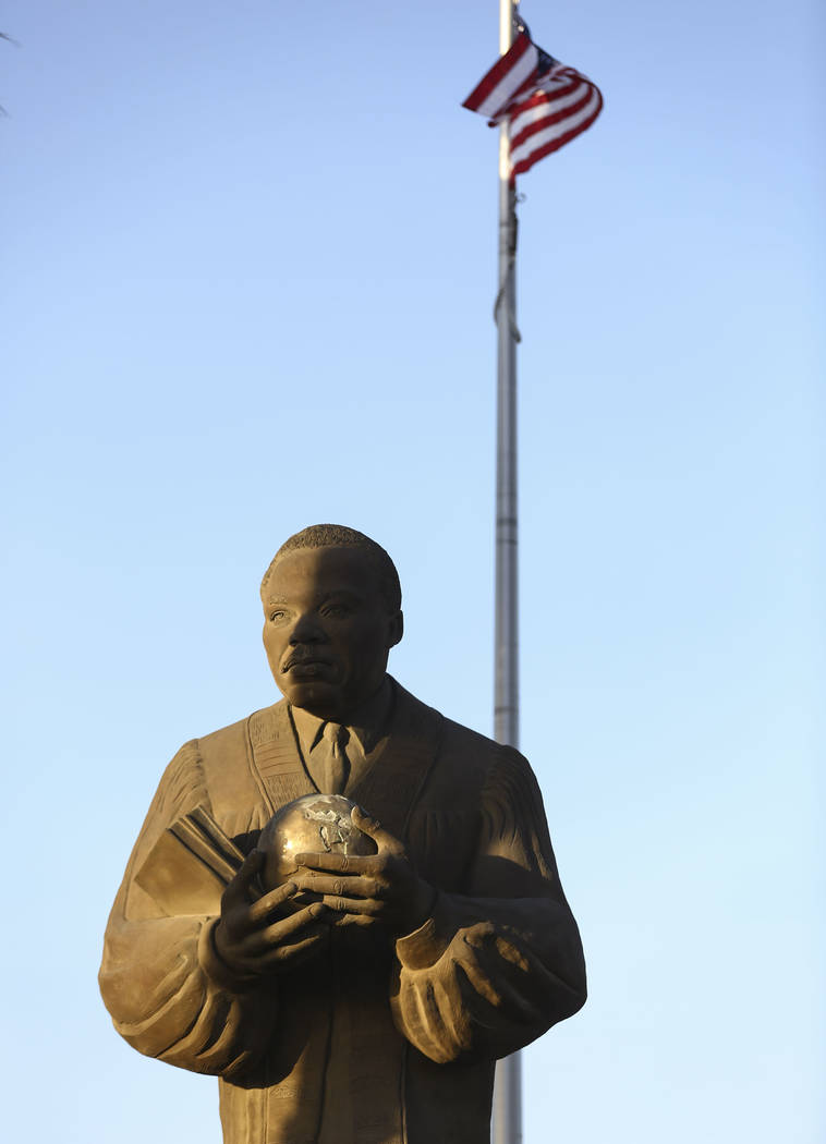 A statue of Dr. Martin Luther King Jr. in North Las Vegas. Chase Stevens Las Vegas Review-Journ ...