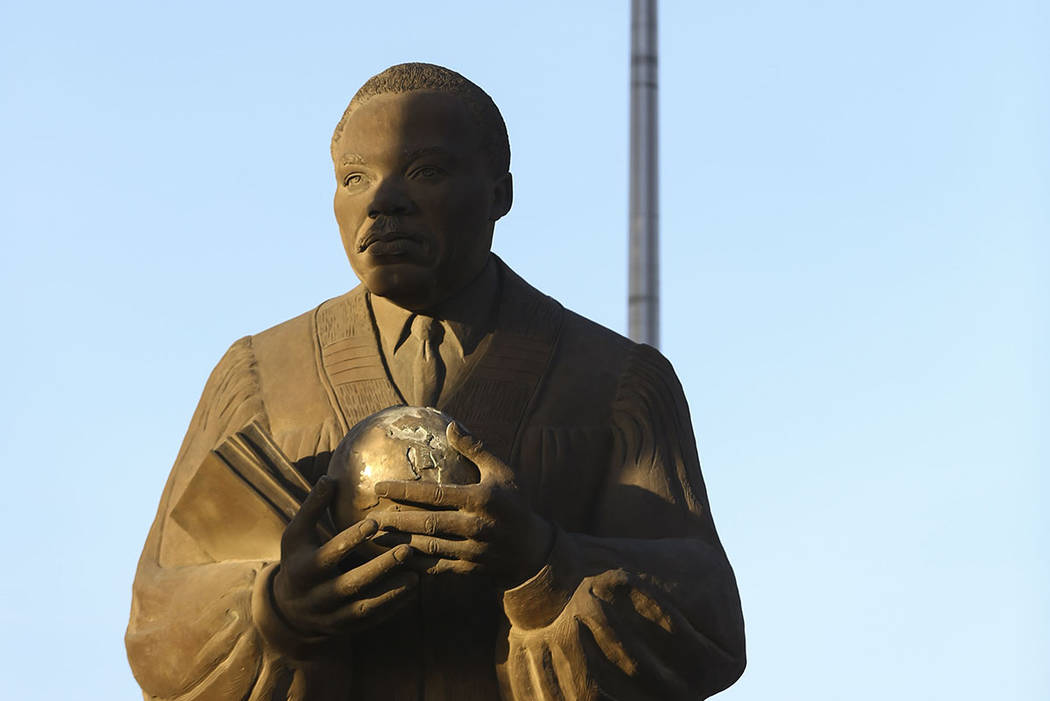 A statue of Dr. Martin Luther King Jr. in North Las Vegas on Wednesday, April 4, 2018. Chase St ...