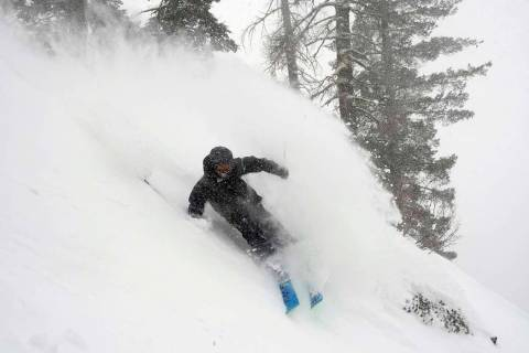 In this photo provided by Blake Kessler, Wesley Kepke skis in Alpine Meadows, Calif., on Sunday ...