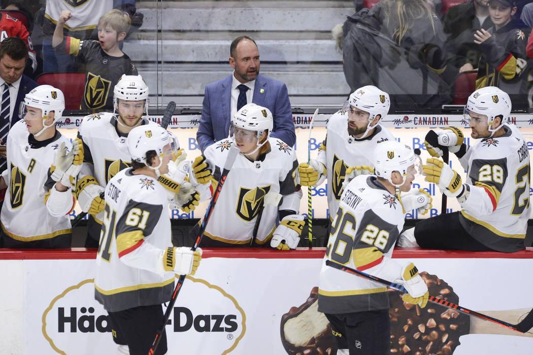 Vegas Golden Knights new head coach Peter DeBoer is seen on the bench as Vegas Golden Knights c ...