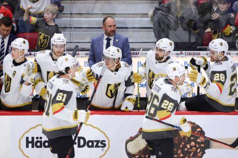 Vegas Golden Knights new head coach Peter DeBoer is seen on the bench as Vegas Golden Knights c ...