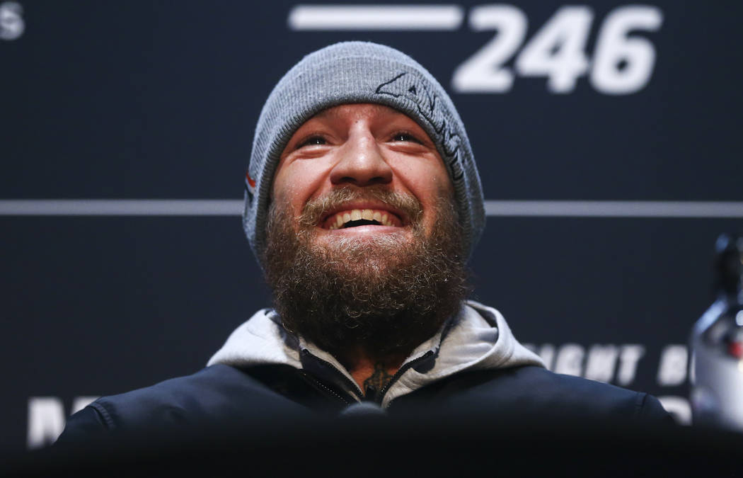 Conor McGregor reacts during media day ahead of UFC 246, slated for Jan. 18, at UFC Apex in Las ...