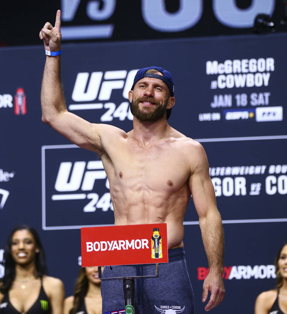 "Donald ""Cowboy"" Cerrone during the ceremonial weigh-in event for UFC 246 in Las Vegas ..."