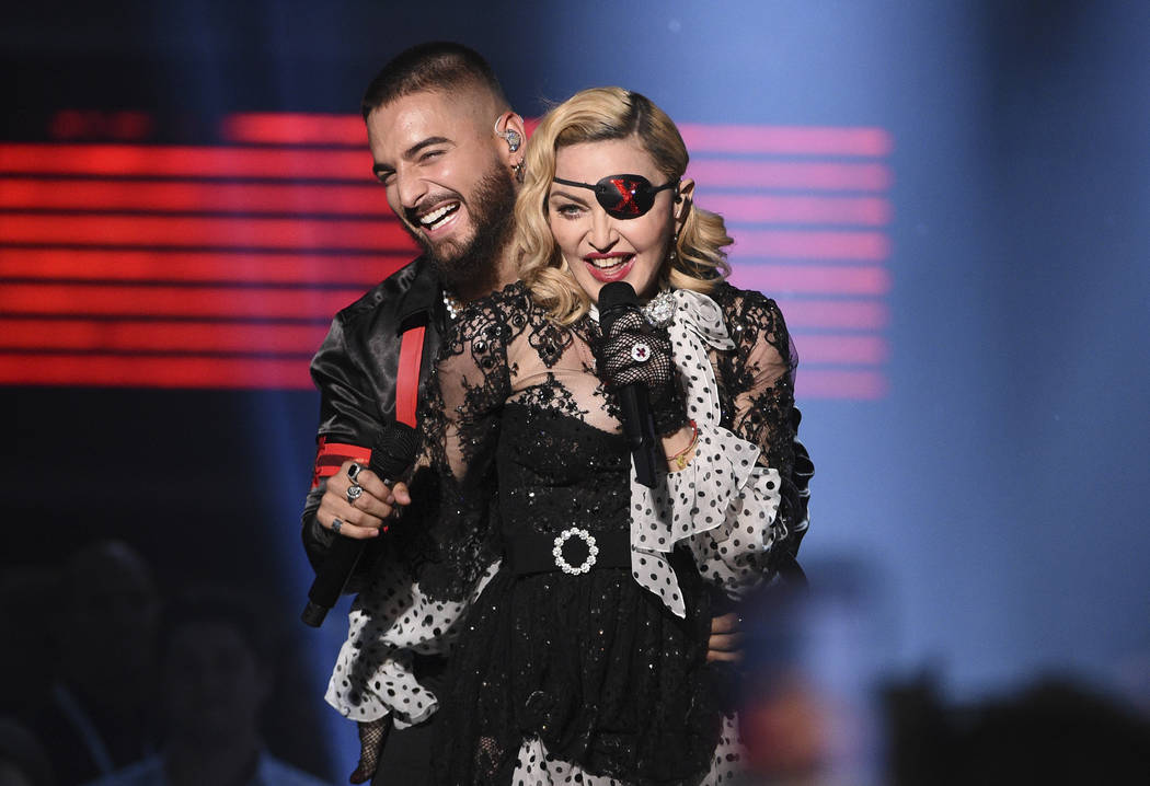 Madonna, shown performing with Maluma on May 1, 2019, at the MGM Grand Garden arena, used an ei ...
