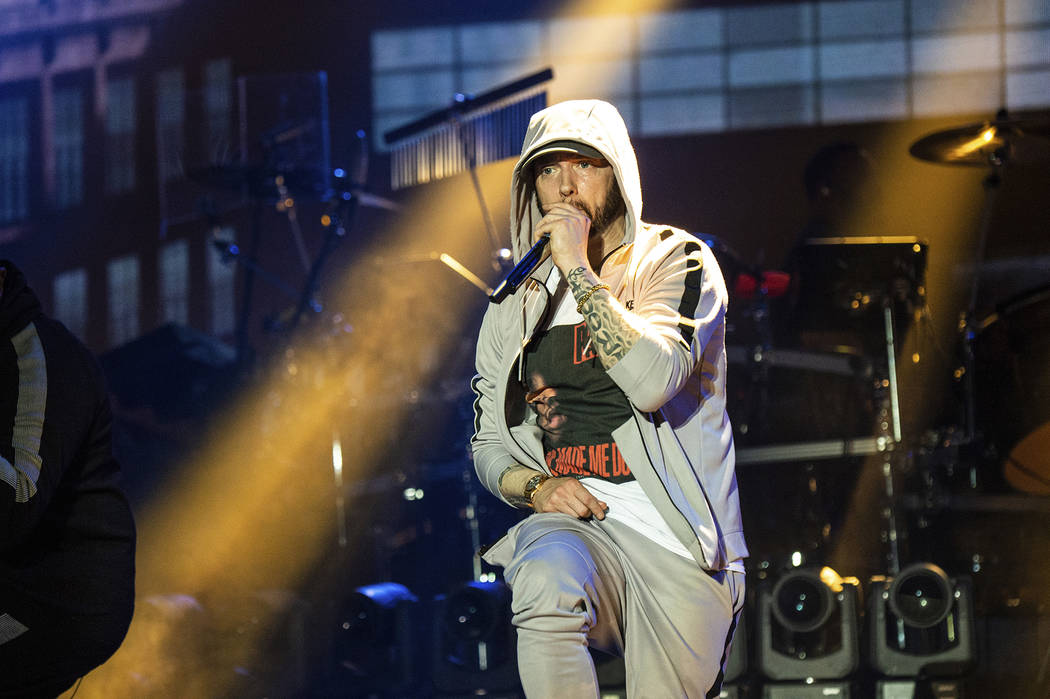Eminem performs at the Bonnaroo Music and Arts Festival on Saturday, June 9, 2018, in Mancheste ...