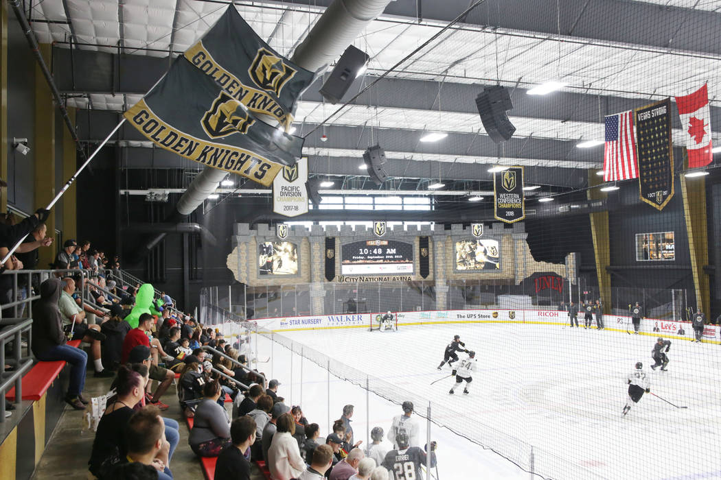 A crowd watches the Golden Knights practice during an alien costume contest at City National Ar ...