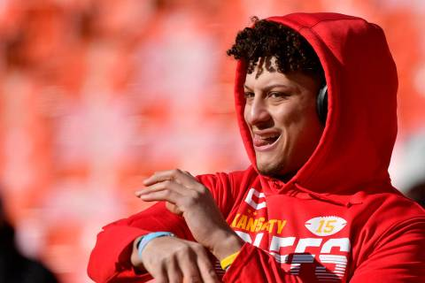 Kansas City Chiefs quarterback Patrick Mahomes before the NFL AFC Championship football game ag ...
