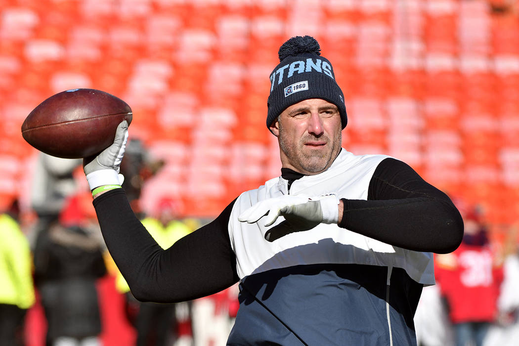 Tennessee Titans head coach Mike Vrabel before the NFL AFC Championship football game against t ...