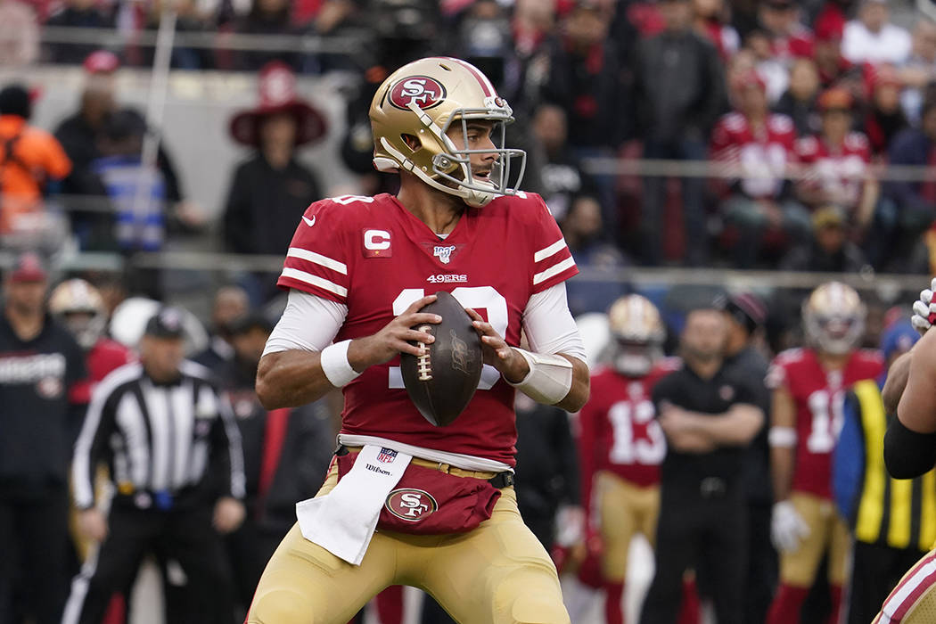 San Francisco 49ers quarterback Jimmy Garoppolo (10) looks to pass against the Green Bay Packer ...