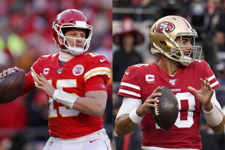 Kansas City quarterback Patrick Mahomes, left, and San Francisco quarterback Jimmy Garoppolo (T ...